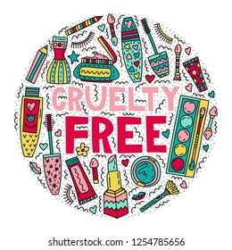 Cruelty frees. Lettering with doodle illustrations in circle shape