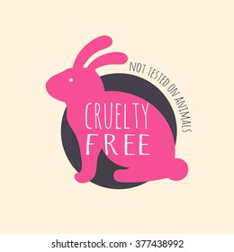 Cruelty-free bunny colorful badge design