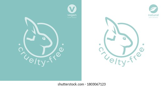 Cruelty-free rabbit icon. Animal rights protection sign. Bunny care symbol. Not tested on animals product stamp emblem. Vector illustration.