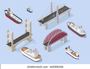 Cruise boat and naval ships nautical transport on the sea for travel vacation tourism illustration. Isometric set of transportation objects