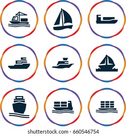 Cruise icons set. set of 9 cruise filled icons such as cargo ship, ship, boat