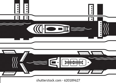 Cruise and industrial ship pass water canal - vector illustration