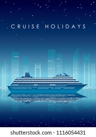 Cruise liner and cityscape at night with text space, vector illustration.
