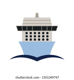 Cruise liner icon front view. Flat color design. Vector illustration.
