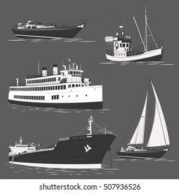 Cruise liner motor ship yacht tanker ship set logo badge label on grey background. Vector. Editable