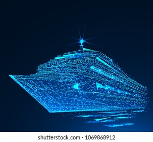 Cruise liner ship. Low poly vector illustration. Vacation, travel, holidays concept.