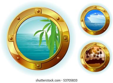 Cruise liner window. Vector.