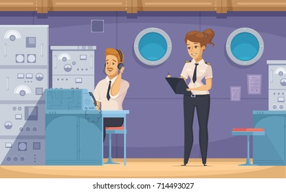Cruise liner yacht ship crew members at work with   technical officer and chief mate cartoon banner vector illustration