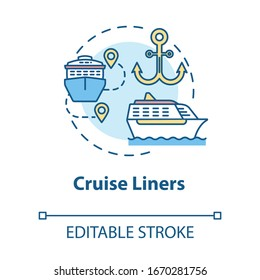 Cruise liners concept icon. Marine tourism with passenger ship. Luxury trip with water vessel. Boat voyage idea thin line illustration. Vector isolated outline RGB color drawing. Editable stroke
