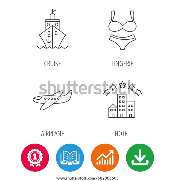 Cruise, lingerie and airplane icons. Hotel linear sign. Award medal, growth chart and opened book web icons. Download arrow. Vector