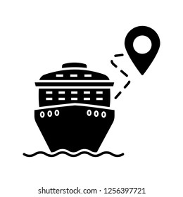 Cruise route glyph icon. Travel destination. Cruise liner with map pinpoint. Journey, trip route planner. Travel itinerary. Silhouette symbol. Negative space. Vector isolated illustration