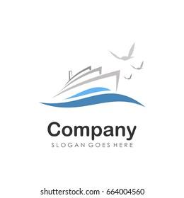 Cruise and sailing boat logo design vector