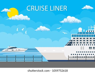 Cruise ship anchored at sea port, Ocean traveling. Vector illustration in flat style