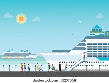 Cruise ship anchored  at sea port with cruise people in line, Ocean traveling visual, flat design vector illustration.