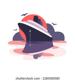 The cruise ship anchored at sunset. Seagulls fly in the sky. The ship is reflected in the water. Vector flat illustration in pink and purple.