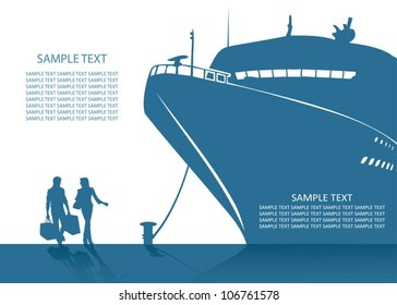 Cruise ship background - vector illustration