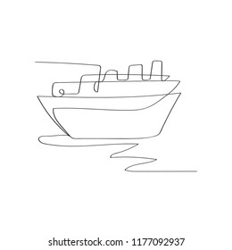 cruise ship in continuous line drawing style, thin linear vector illustration