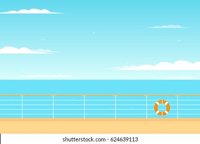 Cruise ship deck view. Clipart illustration