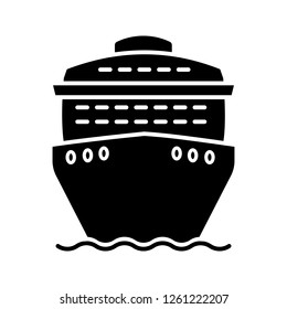 Cruise ship in front view glyph icon. Ocean liner. Boat, cruiseship, ferry. Water transport. Summer voyage. Silhouette symbol. Negative space. Vector isolated illustration