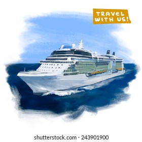 Cruise ship hand drawn vector colorful illustration