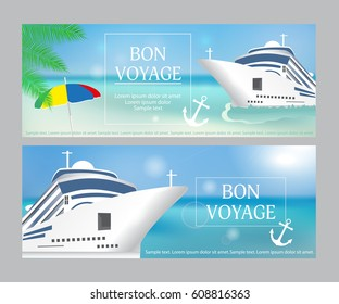Cruise ship with «Bon Voyage» headline. Set poster or banner template. Transatlantic liner ship, anchor. Vector illustration.