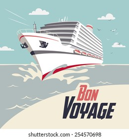 Cruise ship illustration with Bon Voyage headline