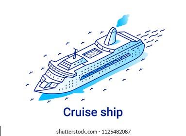 Cruise ship illustration in linear isometric style. Minimal art line.