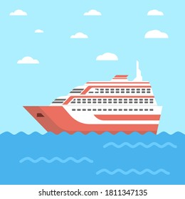 Cruise ship illustration vector suitable for many purposes.