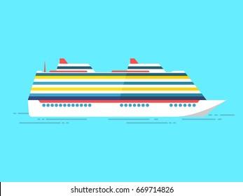 Cruise ship isolated on blue background. Vector flat style illustration