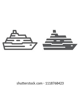 Cruise ship line and glyph icon, travel and tourism, boat sign vector graphics, a linear pattern on a white background, eps 10.