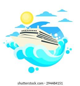 Cruise Ship Liner Summer Ocean Vacation Circle Logo Flat Vector Illustration