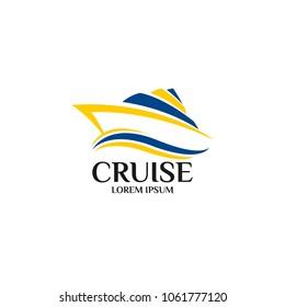 Cruise Ship Logo Icon Design Template. Vector Illustration