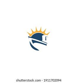 Cruise ship logo icon design template vector illustration