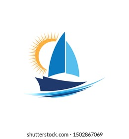 Cruise ship Logo Template vector icon illustration design