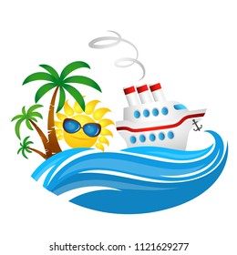 Cruise ship on a wave and sun illustration for travel