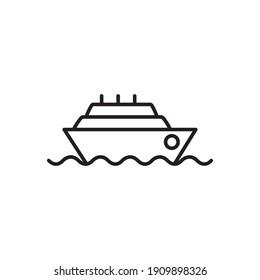 Cruise Ship Outline Icon. Cruise Ship Line Art Logo. Vector Illustration. Isolated on White Background. Editable Stroke