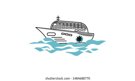 A cruise ship is a passenger ship used for pleasure voyages when the voyage itself with blue sea blackground.