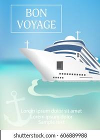 Cruise ship poster with «Bon Voyage» headline. Transatlantic liner ship, anchor. Vector illustration.