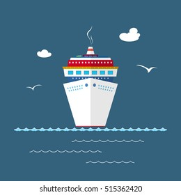Cruise Ship at Sea, Front View of the Liner, Travel Concept , Vector Illustration