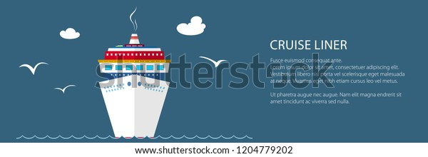 Cruise Ship Sea Text Front View Stock Vector (Royalty Free