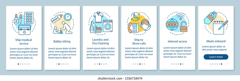 Cruise ship services onboarding mobile app page screen, concepts. Catering, babysitting, medicine. Cruiseship amenities walkthrough step graphic instruction. UX, UI, GUI vector template, illustrations