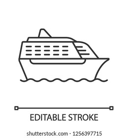 Cruise ship in side view linear icon. Ocean liner. Thin line illustration. Boat, cruiseship, ferry. Water transport. Summer voyage. Contour symbol. Vector isolated outline drawing. Editable stroke