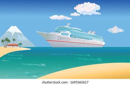 Cruise ship vacation sea travel. Cruise Liner Ship floating on sea, luxury passenger liner ship