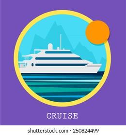 Cruise Ship vector Illustration. Retro styled white cruise ship on the ocean.