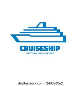 Cruise ship - vector logo template concept illustration. Marine sea liner sign. Design element.
