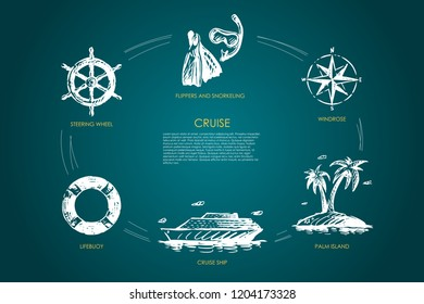 Cruise - steering wheel, lifebuoy, cruise ship, palm island, windrose, flippers and snorkeling vector concept set. Hand drawn sketch isolated illustration