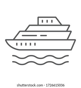 Cruise thin line icon, tourism and travel, liner sign vector graphics, a linear icon on a white background, eps 10