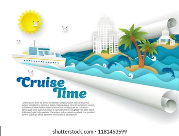 Cruise time poster banner template. Vector paper cut cruise liner floating on ocean waves, dolphins, seagulls, islands with tourist resort buildings palm trees and copy space.