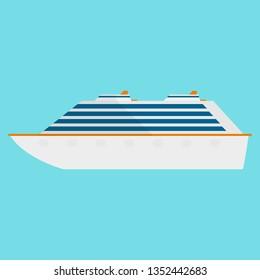 Cruise transatlantic liner flat icon sea cruise ship isolated on blue