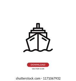 Cruise vector icon. Ship, transportation symbol. Flat vector sign isolated on white background. Simple vector illustration for graphic and web design.